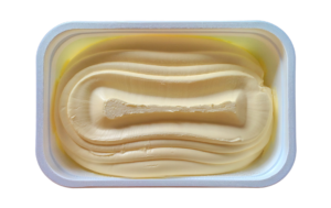 top view of a tub of open butter