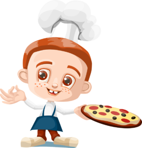 drawing of a chef holding a pizza on a tray