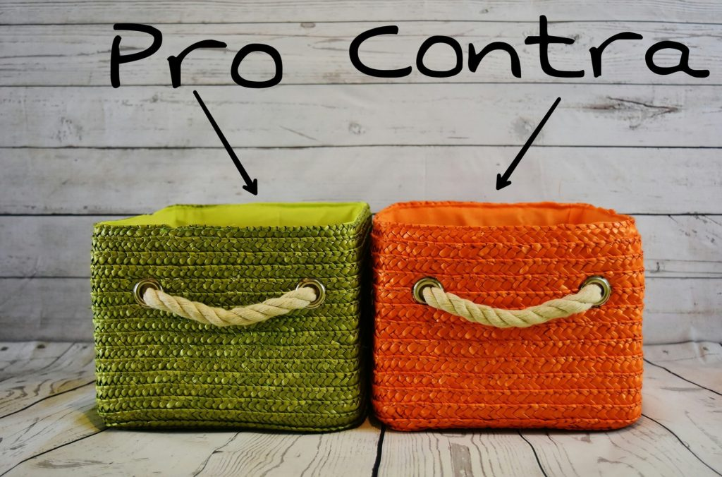 pro and con basket side by side