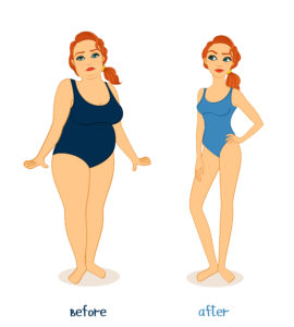 illustration of chubby standing next to slim woman