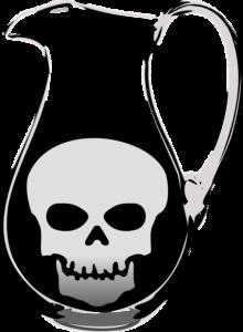 jar of liquid with an illustration of a skull inside