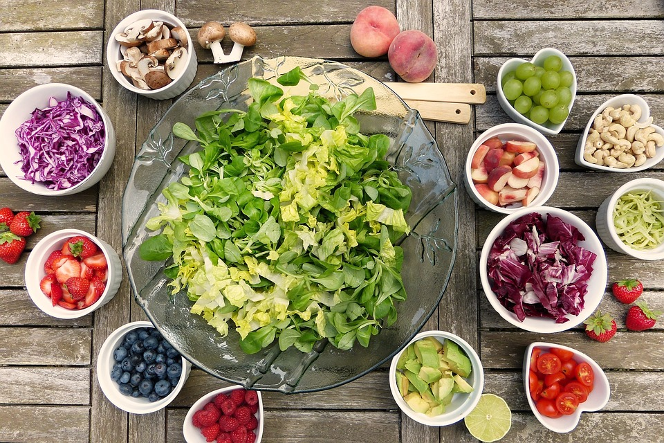 cellulite solutions, different foods set out on table