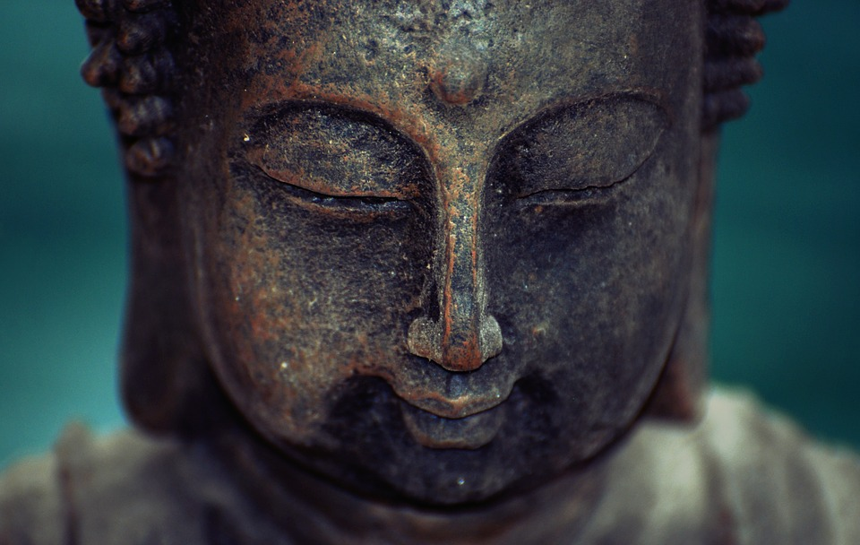 Closeup of statue of Buddha's face