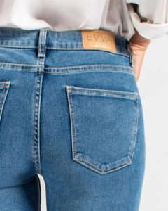 rear view of evva jeans being worn