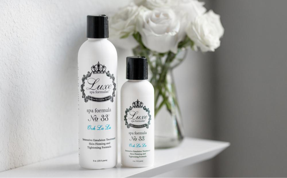luxe spa formula no 33 review for cellulite, two bottles side by side of luxe spa cream
