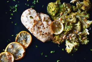 skinless chicken breast with broccoli